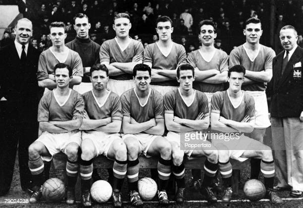 Sport Football England Manchester United FC Back Row Matt Busby Eddie Colman Ray Wood Mark Jones Bill Foulkes David Pegg Duncan Edwards Jimmy Murphy...