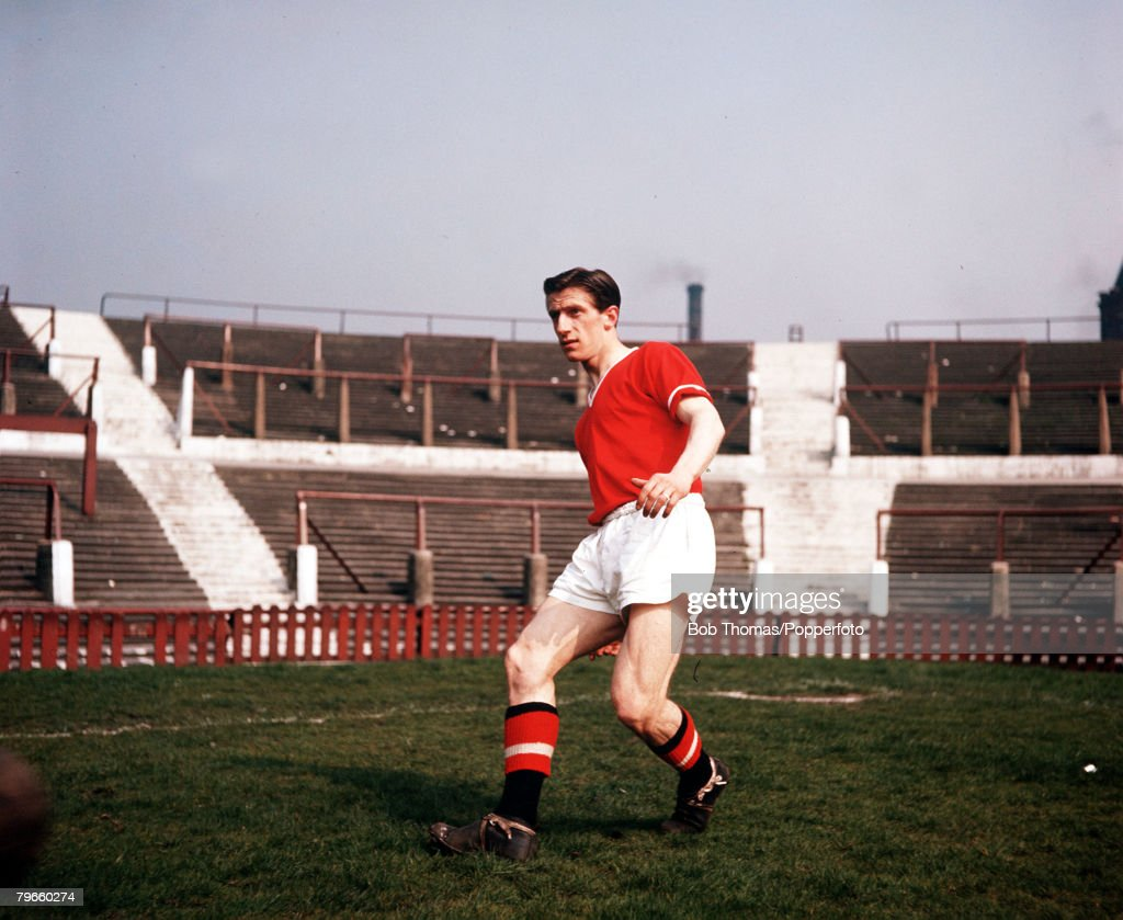 Sport, Football, England, 1956, Manchester United's Dennis Viollet is pictured at Old Trafford : News Photo