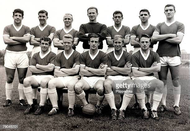 4th August 1960 The Manchester United FC squad pose together for a group photograph Back row LR Alex Dawson Ronnie Cope Maurice Setters Harry Gregg...
