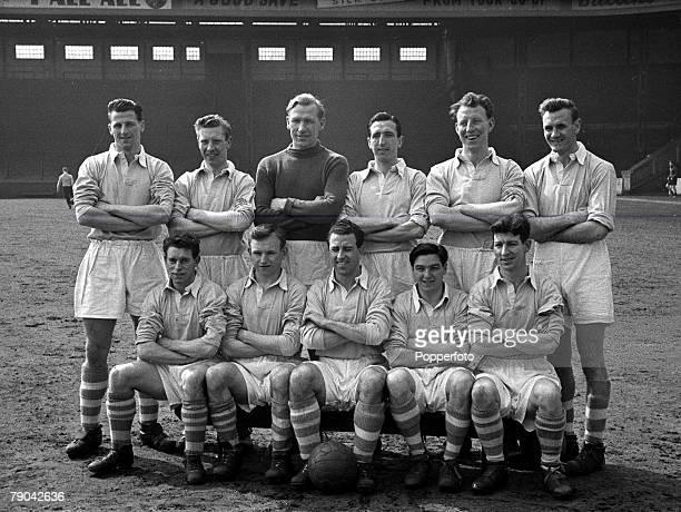 Sport Football England The Manchester City team pose together for a group photograph Back Row LR Jimmy Meadows Roy Little Bert Trautmann Ken Barnes...