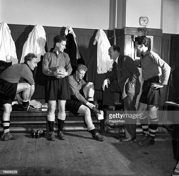 Sport Football England Wolverhampton Wanderers Manager Stan Cullis is pictured in the dressing room at the Molineux Ground talking tactics with some...