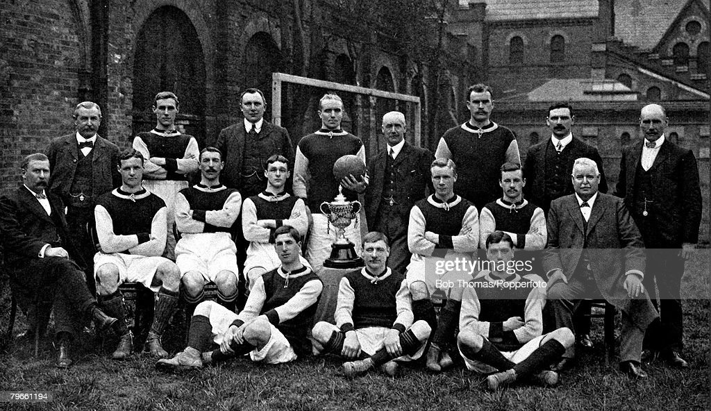 Sport, Football, English FA Cup Winners 1905, Aston Villa F C Team group, (back row l-r) G B Ramsay (Secretary); F Miles; H Toney (Director); H Spencer (Captain); F W Rinder (Chairman); W George; J Devev (director) and J Grierson (Trainer), (centre row l- : News Photo