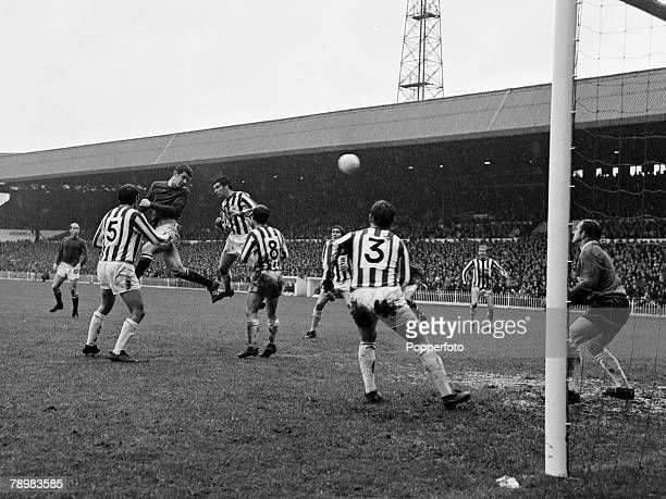 Sport Football English League Division 1 14th October 1967 Sheffield United 0 v Manchester United 3 Manchester United's Brian Kidd powers in a header...