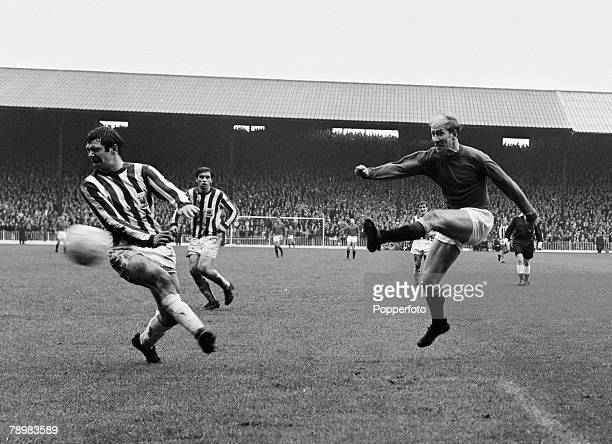 Sport Football English League Division 1 14th October 1967 Sheffield United 0 v Manchester United 3 Manchester United's Bobby Charlton fires a shot...