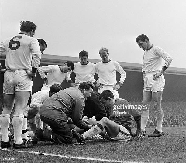 Sport Football English League Division 1 5th April 1964 Liverpool 3 v Manchester United 0 Liverpool trainer Bob Paisley treating the injured Ian St...