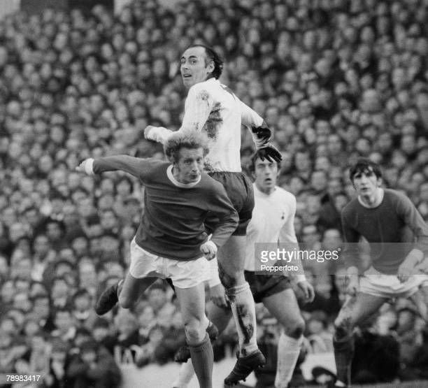 Sport Football English League Division 1 5th December 1970 Tottenham Hopspur 2 v Manchester United 2 Tottenham's Alan Gilzean outjumps Manchester...