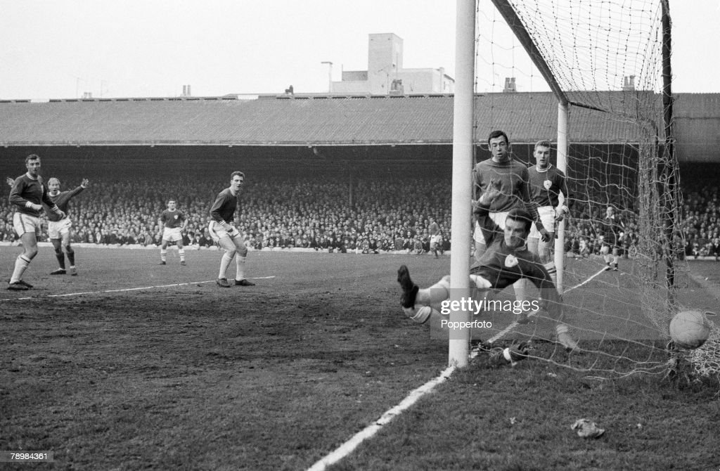 Sport Football, English League Division 1, 8th February 1964, Leicester City 3 v Manchester United 2, Dennis Law (out of shot) has scored for Manchester United despite Leicester's Richie Norman attempting to clear, Gordon Banks looks on
