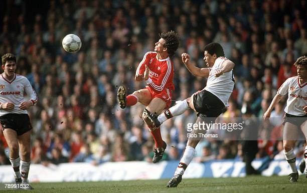 Sport Football English League Division One 4th April 1988 Liverpool 3 v Manchester United 3 United's Paul McGrath tackles Liverpool's Craig Johnston