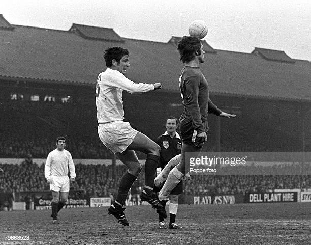 Sport Football English League Division One London England 10th January 1969 Chelsea 2 v Leeds United 5 Chelsea's David Webb heads the ball clear from...