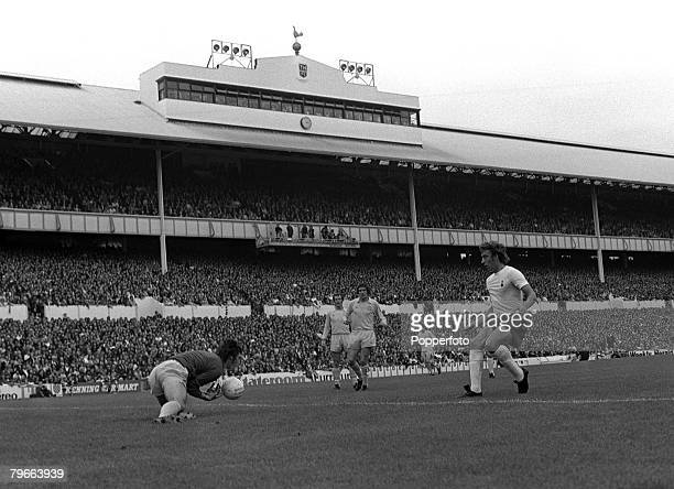 Sport Football English League Division One London England 1st September 1973 Tottenham Hotspur 0 v Leeds United 3 Leeds goalkeeper David Harvey saves...