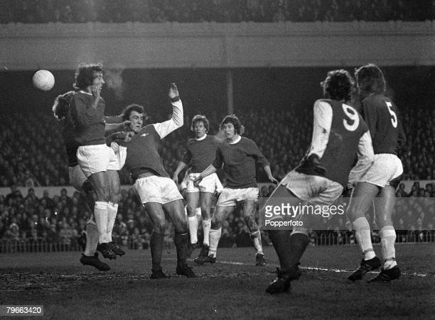 Sport Football English League Division One London England 1st January 1972 Arsenal v Everton Arsenal's Ray Kennedy is foiled by Everton goalkeeper...