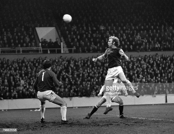 Sport Football English League Division One London England 1st January 1972 West Ham United 3 v Manchester United 0 West Ham's captain Bobby Moore...