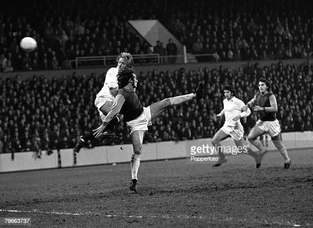 Sport, Football, English League Division One, London, England, 1st January 1972, West Ham United 3 v Manchester United 0, Manchester United's Denis...