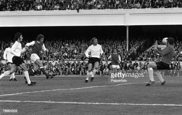 Sport Football English League Division One London England 22nd September 1973 Arsenal 2 v Stoke City 1 Arsenal's Alan Ball scores the winning goal...