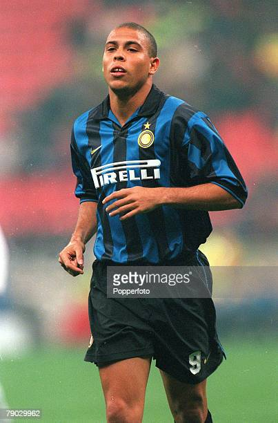 Sport Football European Champions League Milan Italy 21st October 1998 Inter Milan 2 v Spartak Moscow 1 Inter Milan's Ronaldo