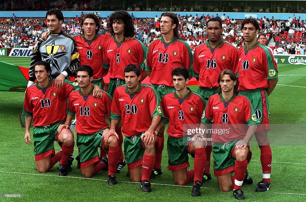 Sport, Football, European Championship. 14th.June 1996. Portugal 1 v Turkey 0. (Nottingham Forest). Portugal team Group picture. : News Photo
