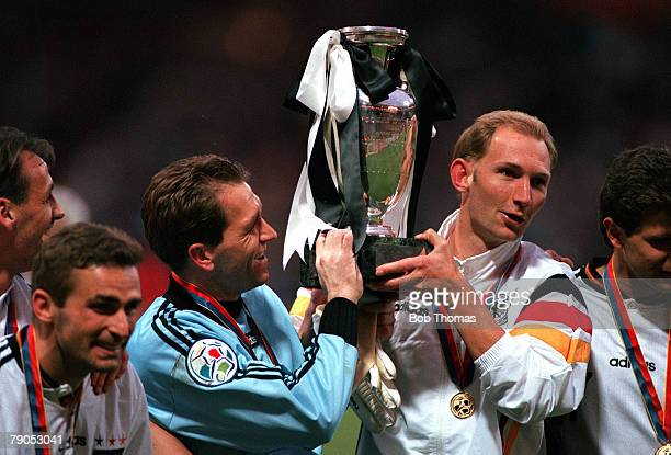 Sport Football European Championship 30th June 1996 Germany 2 v 1 CzechRepublic Germany's Andreas Kopke and Dieter Eilts lift the trophy