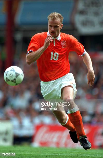 Sport Football European Championships 10th June 1996 Holand 0 v Scotland 0 Dennis Bergkamp in action for Holland