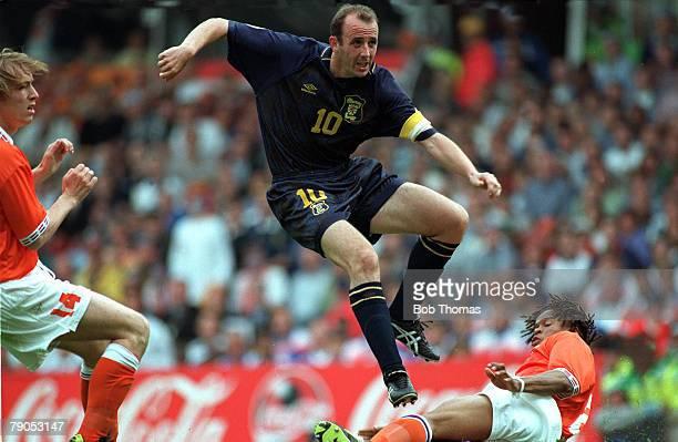 Sport Football European Championships 10th June 1996 Holland 0 v Scotland 0 Holland's Edgar Davids slides in on Scotland Captain Gary McAllister