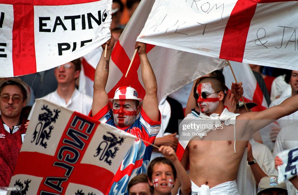 Sport, Football, European Championships, 15th, June 1996, (WEMBLEY), England 2 v 0 Scotland, England fans waving the St, Georges cross flag