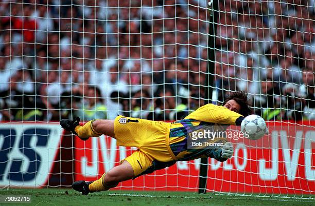Sport Football European Championships 22nd June 1996 England beat Spain 42 0n penalties England Goalkeeper David Seaman saves the 4th penalty to win...