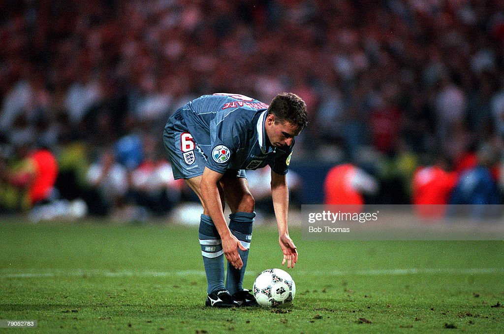 Sport, Football, European Championships, 26th, June 1996, ( WEMBLEY),Germany beat England, 6-5 on penalties,(semi-final)- (after extra time), England's Gareth Southgate places spot-kick