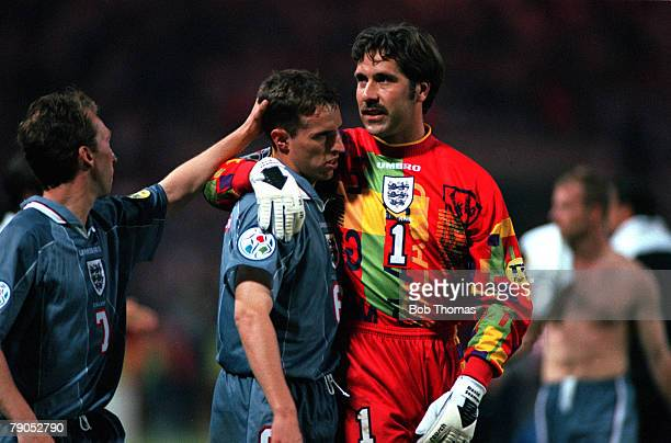 Sport Football European Championships 26th June 1996 Germany beat England 65 on penalties David Seaman consoles teammate Gareth Southgate
