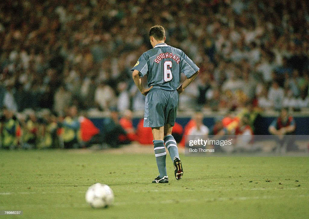 BT Sport, Football, European Championships, 26th. June 1996, (WEMBLEY). Semi-Final. England v Germany. Germany beat England, 6-5 on penalties, (after extra time). England's Gareth Southgate misses the penalty that puts England out of the championship. : News Photo