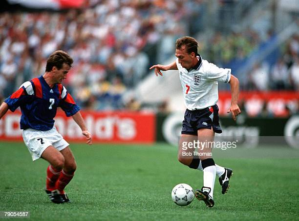 Sport Football European Championships Malmo Sweden Group1 14th June England 0 v France 0 England's David Platt takes on France's Didier Deschamps