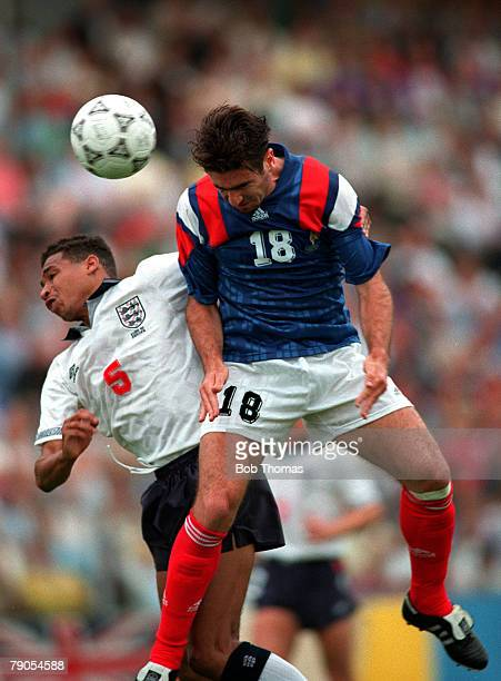 Sport Football European Championships Malmo Sweden Group1 14th June England 0 v France 0 Eric Cantona of France beats England's Des Walker in the air