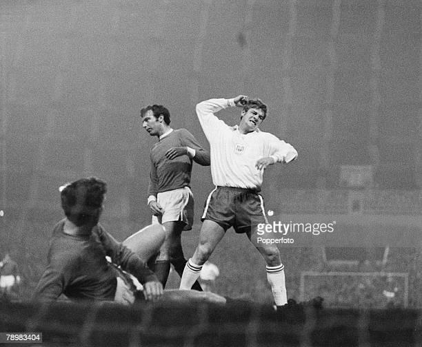 Sport Football European Cup 13th November 1968 Manchester United 3 v Anderlecht 0 Anderlecht's Deyrindt shows his fustration after Manchester...