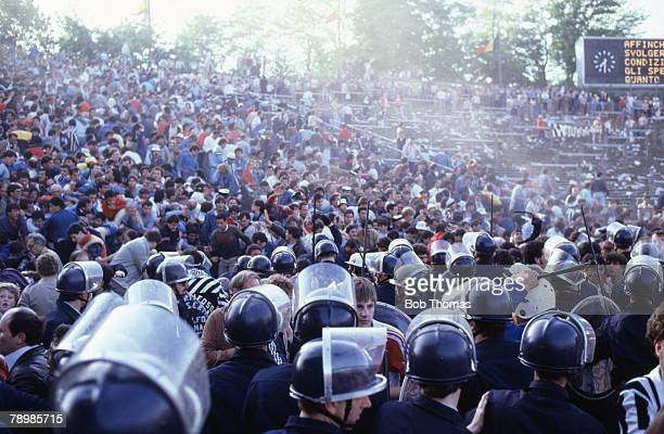 Sport Football European Cup Final Brussels 29th May 1985 Liverpool 0 v Juventus 1 Belgium police try to hold back supporters
