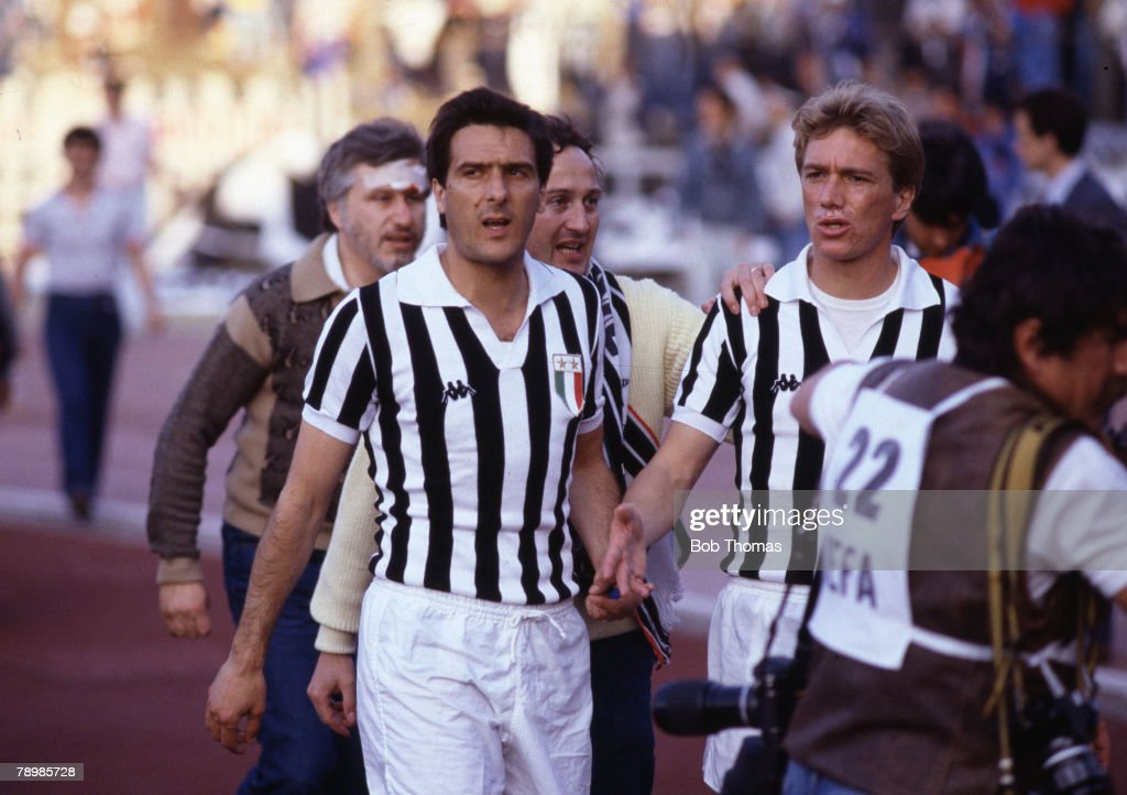Sport. Football. European Cup Final. Brussels. 29th May 1985. Liverpool 0 v Juventus 1. Juventus captain Gaetano Scirea comes on to the pitch to appeal to the supporters for calm : News Photo