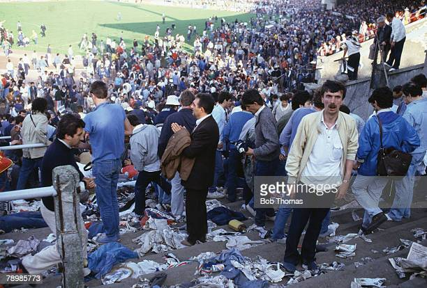 Sport Football European Cup Final Brussels 29th May 1985 Liverpool 0 v Juventus 1 Dazzed fan on the Juventus terrace