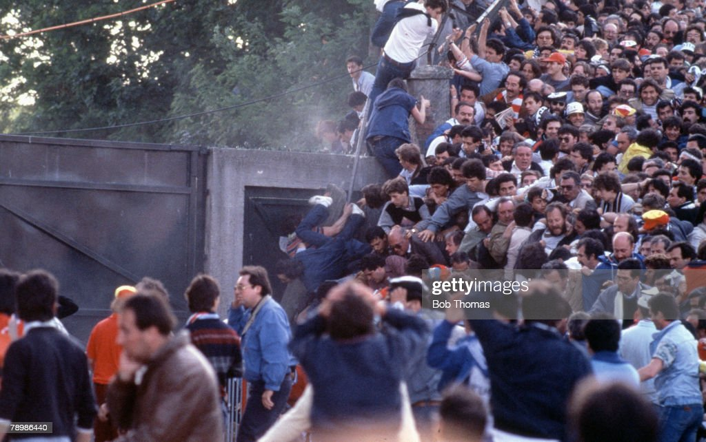 Sport. Football. European Cup Final. Brussels. 29th May 1985. Liverpool 0 v Juventus 1. Juventus fans crushed against the supporting wall of the stand. : News Photo
