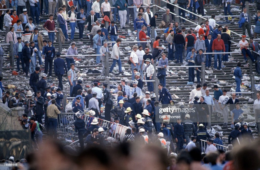 Sport. Football. European Cup Final. Brussels. 29th May 1985. Liverpool 0 v Juventus 1. Chaos amongst the mixed supporters and fans. : News Photo