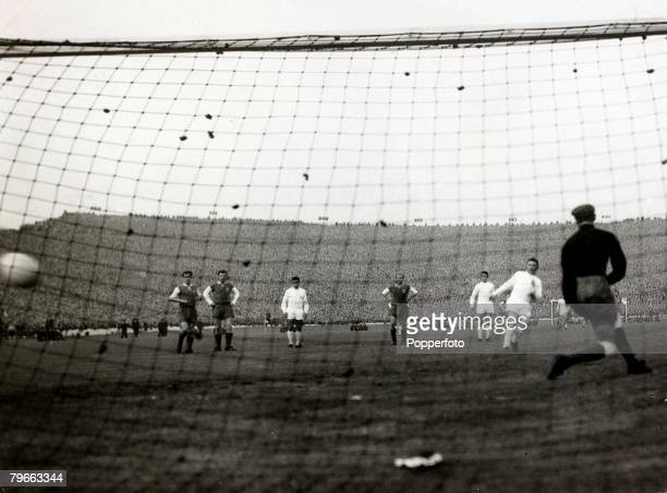 Sport Football European Cup Final Hampden Park Glasgow 18th May 1960 Real Madrid 7 v Eintracht Frankfurt 3 Real Madrids Ferenc Puskas scores their...