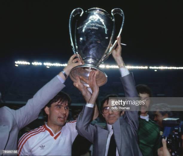 Sport Football European Cup Final Seville 7th May 1986 Steaua Bucharest 0 v Barcelona 0 Steaua won 2 0 on penalties Bucharest's Anghel Iordanescu...