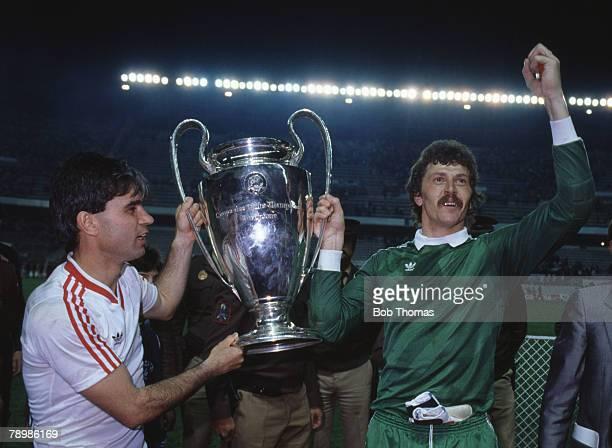Sport Football European Cup Final Seville 7th May 1986 Steaua Bucharest 0 v Barcelona 0 Steaua won 2 0 on penalties Bucharest's Anghel Iordanescu and...