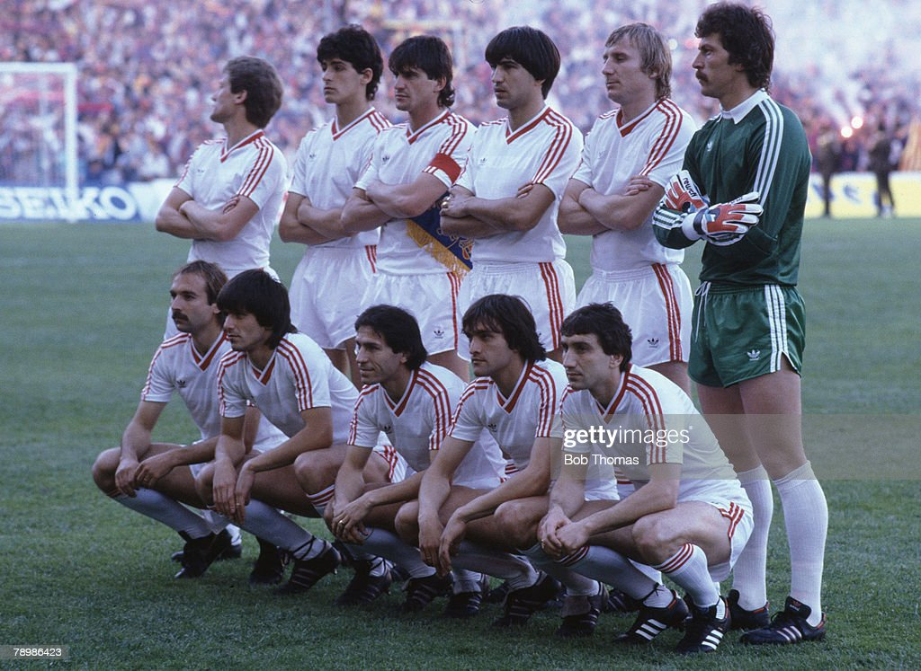 Sport. Football. European Cup Final. Seville. 7th May 1986. Steaua Bucharest 0 v Barcelona 0 ( After Extra Time) Steaua won 2 - 0 on penalties. Steaua Bucharest team group. : News Photo