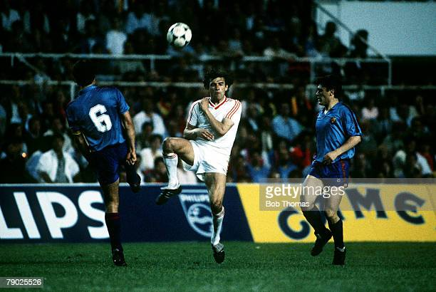 Sport Football European Cup Final Seville Spain 7th May 1986 Barcelona 0 v Steaua Bucharest 0 Steaua Bucharests Gavril Balint is tackled by...