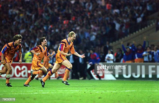 Sport Football European Cup Final Wembley London England 20th May 1992 Barcelona 1 v Sampdoria 0 Barcelona's Ronald Koeman runs away to celebrate...