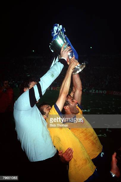 Sport Football European Cup Winners Cup Final Basle Switzerland 16th May 1984 Juventus 2 v FC Porto 1 Juventus captain Antonio Cabrini celebrates...