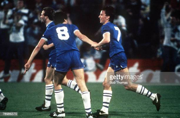 Sport Football European Cup Winners Cup Final Rotterdam Holland 15th May 1985 Everton 3 v Rapid Vienna 1 Everton's Trevor Steven is congratulated by...