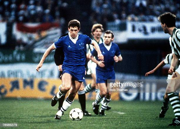 Sport Football European Cup Winners Cup Final Rotterdam Holland 15th May 1985 Everton 3 v Rapid Vienna 1 Everton's Kevin Sheedy on the ball