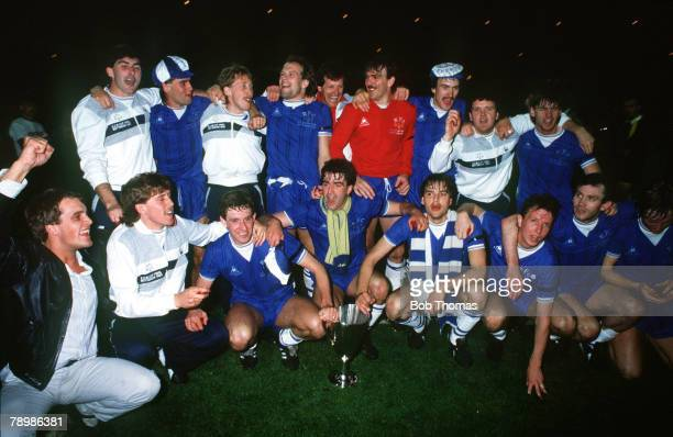 Sport Football European Cup Winners Cup Final Rotterdam Holland 15th May 1985 Everton 3 v Rapid Vienna 1 The Everton team celebrate with the trophy...