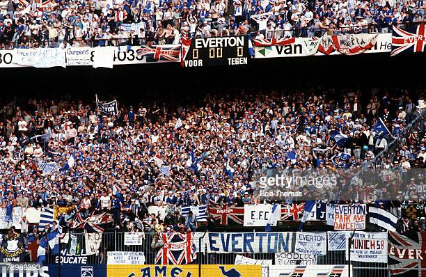 Sport Football European Cup Winners Cup Final Rotterdam Holland 15th May 1985 Everton 3 v Rapid Vienna 1 A section of the Everton fans watching the...