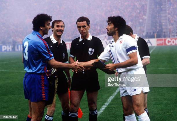 Sport Football European CupWinners Cup Final Berne Switzerland 10th May 1989 Barcelona 2 v Sampdoria 0 Barcelona captain Alexanko shakes hands with...