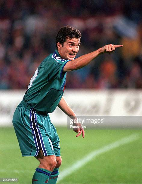 Sport Football European CupWinners Cup Final Rotterdam Holland 14th May 1997 Barcelona 1 v Paris St Germain 0 Barcelona's Guillermo Amor