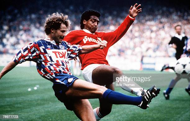 Sport Football European Football circaDutch League Ajax Amsterdam's Danny Blind contests the ball with PSV Eindhoven's Romario